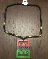 "RASTA ""Black Lives Matter"" Bead Necklace  Reggae color Chain Red Black Green"
