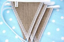 HESSIAN & LACE Fabric Bunting  6m/20ft - 24FLAGS  Wedding Christmas Party