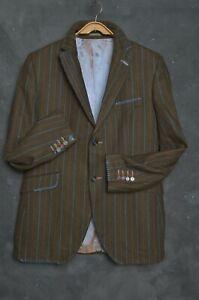 Holland Esquire Mens Blazer Jacket 42 Wool Sport Coat Striped Brown RRP £490+