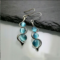 925 Silver Dangle Drop Earrings Ear Hook Moonstone Women Elegant Jewelry Gift .