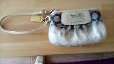 Small coach zipped purse blue and white