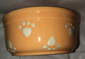"Petrageous Designs Pet Bowl Stoneware  Paw Prints  Dog Food Water 7"" Bowl"