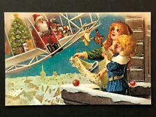 repro vintage postcard SANTA CLAUS CHRISTMAS TOYS plane Pleiades Press p168 NOS