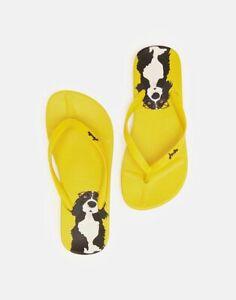 Joules NEW women's flip flops yellow dog black white spaniel sandals sizes 3-8