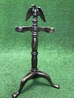Vintage Mid Century Heavy Solid Brass Bald Eagle Fireplace Tool Stand Rare