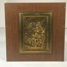 """Vintage Old West Coach Plaque Metal Tile Mounted on Particle Board 8.5'x 8.5"""""""