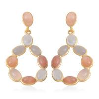 Gold Plated 925 Sterling Silver Dangle Drop Earrings Multi Moonstone for Women