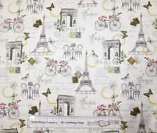 Quilting Patchwork Sewing Fabric EIFFEL TOWER PARIS Printed Cott Material 50x55