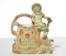 """""""Girl on an oversize Watering Can"""" Figural Vase"""