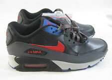 New Nike Air Max 90 307793-030 Black/Red-Dark Grey-Blue YOUTH Size 5.5 WOMEN 7