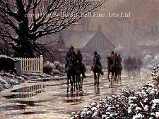 Race Horses in Snow, Christmas cards pack of 10 by Roy Miller. C254X