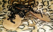 ZARA Size 40/9 Black Fabric Tie Strap Flat Sandals
