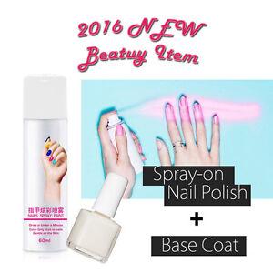 2016 New Spray On Nail Polish 60ml + Base Coat Easy Fast Drying Gel Nail Art 2pc