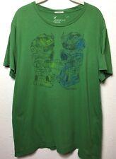 AEO American Eagle Men Size XL Green 'Robo-Mance' Robots Vintage Fit T-Shirt(4A)