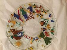 "EXC COND Peggy Karr ""The 12 Days of Christmas"" Fused Glass Art Plate - 14"""