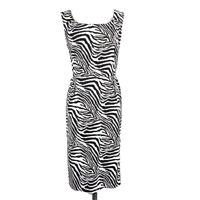Coldwater Creek Zebra Stripe Sheath Dress Size 14 White Pockets Sleeveless 41 in
