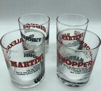 Vintage Recipe Glass Glasses Set Of 4 Alexander Manhattan Martini Gibson Barware