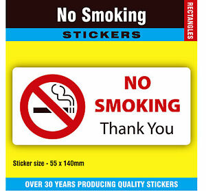Pack of 10 No Smoking Stickers Labels Signs - 55 x 140mm Rectangles