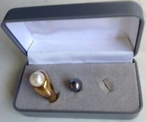 Dr.Pierre Ricaud 2-in-1 Ring mit 2Xechten, abnehmbaren Süßwasser-Perlen / Gravur