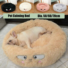 Puppy Pet Dog Cat Sleeping Calming Bed Round Plush Fluffy Warm Nest Cushion Mat