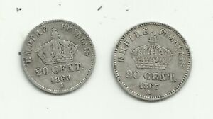 2 MONNAIES 20 CTS NAPOLEON III 1866 A, 1867 A