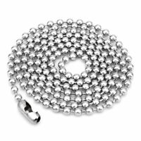 5pcs/lot Stainless Steel Round Ball Bead Chain Necklace Men Women 1.6/2/2.4/3mm