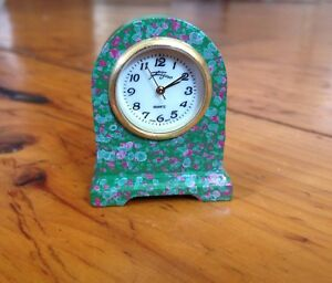 "Doll House Painted Metal Little Mantel Clock 1.5"" Figavo Quartz ""Free Shipping"""