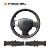 Black Genuine Leather Steering Wheel Cover for Nissan Tiida Sylphy Versa Note