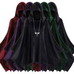 UK Unisex Halloween Gift Cape Cape Cosplay Cape Solid Color Hooded Cloak Top