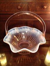 Tiara Indiana glass opalescent pink basket