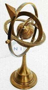 Nautical Vintage Brass Armillary Sphere With Arrow Maritime Engraved Globe Rashi