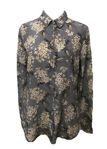 Ladies RHODES & BECKETT Silk Grey Floral Shirt. Size 10. GUC