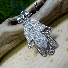 .925 Silver CZ Hamsa Pendant 20″ Necklace