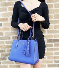 Kate Spade Rowe Leather Periwinkle Small Top Zip Satchel Crossbody Bag Blue
