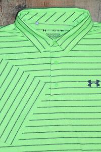 Under Armour UA Playoff Core Heather Golf Polo Shirt Men XL Green / Heather Gray