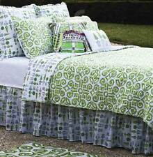 Boxwood Abbey Topiaries Green and White Cotton Bed Skirt/Dust Ruffle