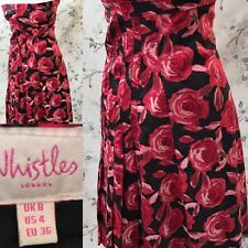 Whistles Red Roses 1950s Style Strapless Tea Dress Size 8 S1