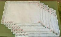 NOS Gorgeous Vintage Hand Embroidered 8 Placemats 4 Napkins Sheer White Cotton