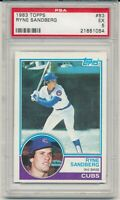 1983 Topps Ryne Sandberg Rookie #83  Graded PSA 5  EX  Chicago Cubs