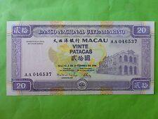 Macau Banco Nacional Ultramarino 20 Patacas 1996 (PERFECT UNC) AA 1st Series