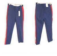 Calvin Klein Men Blue Red Marching Band Stripe Slim Twill Chino Pants NWT 33x32