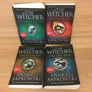 The Witcher Books 4x Bundle by Andrzej Sapkowski Last Wish Season Storms Lady ..