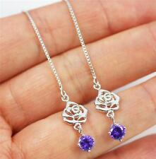 Pretty Pull Through Solid 925 Sterling Silver & Purple CZ Dangle / Drop Earrings