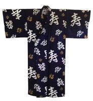 "Japanese 36/"" Cotton Happi Coat Kimono Robe Kotobuki Longlife Kanji Made in Japan"