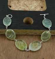 Prehnite Gemstone Handmade Party Wear Gift Bracelet Solid 925 Sterling Silver