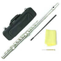 SKY Brand New C Foot  Silver Plated Flute w Case + FREE Black Bag