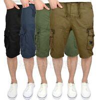 Crosshatch Mens Combat Cargo Multi Pocket Knee Length Summer Shorts, 4 Colours