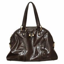 Yves Saint Laurent Brown Patent Leather Muse Shoulder Bag Purse