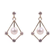 9ct Perla D'oro in cornice con Zirconi Cubici Orecchini, nuovo, signore gioielli, 7543