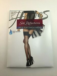 1 NEW Silk Reflections Lace Top Thigh Highs Silky Sheer Lace Top Sheer Jet Sz AB